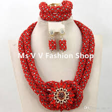 red necklace images 2018 african beads jewelry set coral red gold handmade crystal jpg