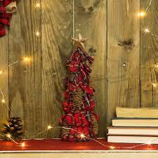 glitzhome plaid pinecone tabletop tree reviews wayfair