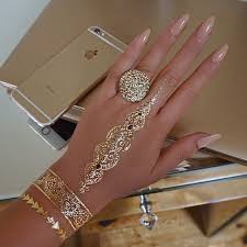 20 shiny and girlish gold henna tattoos styleoholic