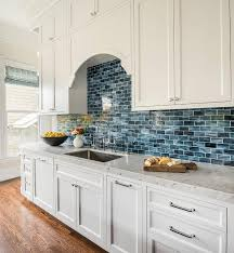 Kitchen With Brick Backsplash White Kitchen Cabinets With Blue Mini Brick Backsplash Tiles