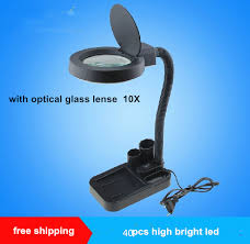 10x magnifying glass with led light portable desktop magnifier with tool box stand with 40 led light 5x