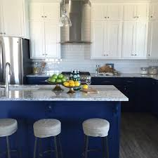 Grey Blue Cabinets White Upper Cabinets Blue Lower Cabinets Transitional Kitchen