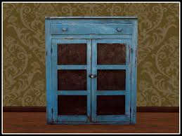second life marketplace re old wood blue pie safe cupboard one