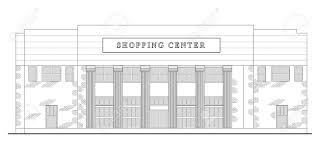 line drawing illustration of a strip mall or shopping center