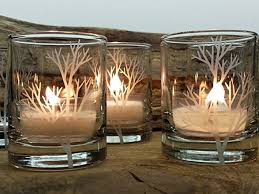 set of 4 clear tree branch engraved glass candle