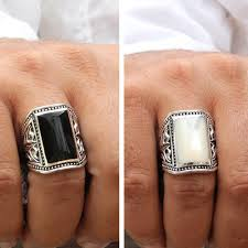 big vintage rings images Onyx or shell silver rings vy jewelry jpg