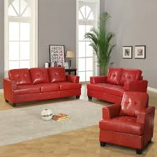cartona red bonded leather tufted 3 piece living room set red