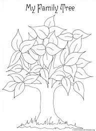 free printable coloring page for with leaves and tree trunk