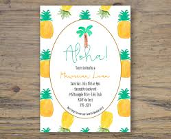 aloha hawaiian luau pineapple party invitation custom 5x7