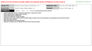Sample Resume For Machine Operator by Photocopying Machine Operator Resume Sample