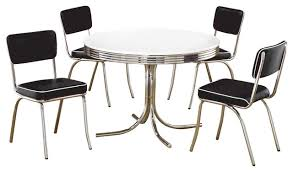 retro round table cushion chair chrome dining 5 piece set