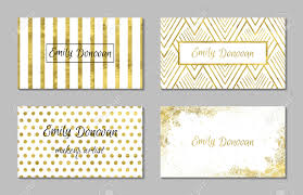 set of 4 gold and white business card template or gift cards