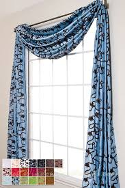 Blue Swag Curtains Bliss Ribbon Scarf Swag Window Topper Available In 19 Colors