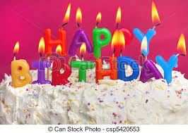 happy birthday candle happy birthday cake colourful lit candles spellign out stock