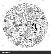 ocean flora fauna circle shape fish stock vector 357665840