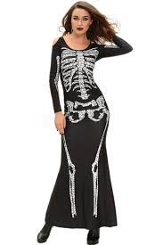 halloween costume discount wholesale cheap long skeleton dress halloween costume