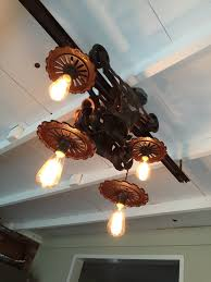 Ceiling Lighting Ideas This Is A Light We Made From A Hay Trolley Another Diy Chandelier