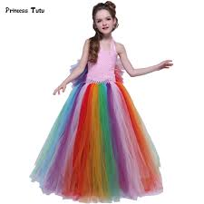 aliexpress com buy colorful tulle wings rainbow tutu dress girls