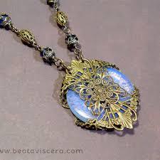 vintage blue stone necklace images Shop vintage medallion pendant on wanelo jpg