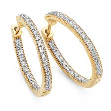 gold diamond hoop earrings hoop earrings with 1 6 carat tw of diamonds in 10kt yellow gold
