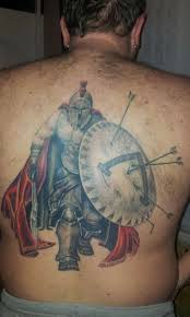 3d spartan warrior with shield tattoo on man full back