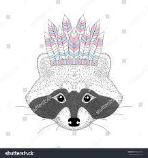 cute raccoon war bonnet on head stock vector 568470712 shutterstock