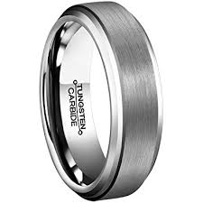 beveled ring men rings 6mm tungsten carbide brushed matte finish beveled edge