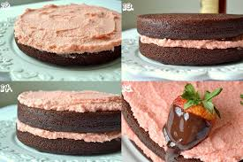chocolate covered strawberry rum cake with real strawberry frosting