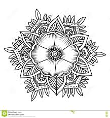 Mandala Flower Doodle Vector Illustration Coloring Pages Stock Mandala Flowers Coloring Pages