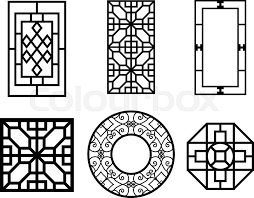 set of window with pattern vector ornament stock vector
