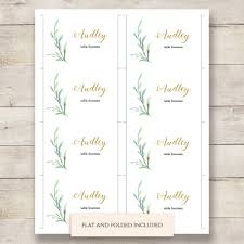 Wedding Place Cards Template Greenery Wedding Table Place Card Template Flat And Folded Name