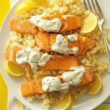 thanksgiving risotto recipe salmon with dill sauce u0026 lemon risotto recipe taste of home