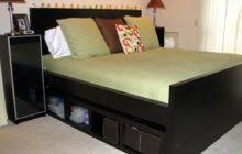 Platform Bed With Storage Underneath Retro Black Stained Wooden King Platform Bed With Sleigh Headboard