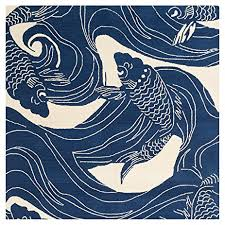 Koi Outdoor Rug Kana Global Coastal Blue Koi Outdoor Rug