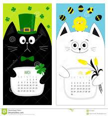 cat calendar 2017 cute funny cartoon character set march april