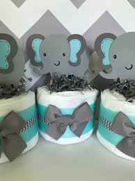 set of 3 elephant mini diaper cakes in mint and gray elephant