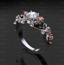 engagement rings skull st 1 00ct white white gold black skull