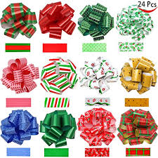 christmas gift bows 24 pieces christmas gift wrap ribbon pull bows 5 wide easy and
