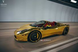 cars ferrari gold golden ferrari 458 spider on vellano wheels autofluence