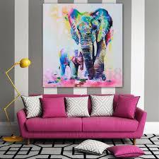 elephant print picture canvas baby multi watercolour home decor