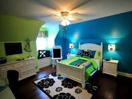 turquoise and lime green bedroom