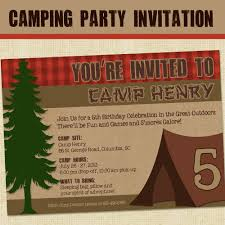 camping party invitations template best template collection