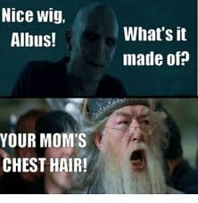 Nice Hair Meme - nice wig albus your mom s chest hair what s it made of meme
