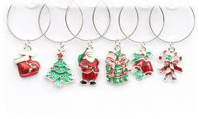 enamel and silver christmas wine glass charms oe wgc 0298