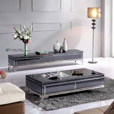 High End Coffee Tables End Fashion Tempered Glass Coffee Table With Storage Drawers