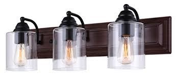 Black Vanity Lighting Canarm Balsa 3 Light Vanity Light With Clear Glass And Matte Black