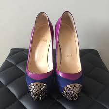 christian louboutin blue purple maggie suede kid leather pumps