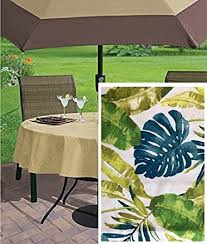 tablecloth for patio table with umbrella amazon com newbridge andros tropical leaves summer and spring