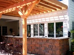Shades For Patio Covers Exterior Brown Patio Umbrella With Brick Wall Fireplace And Iron