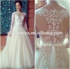 wedding gowns 2015 ow76 vintage lace bling bling princess sheer sleeve pearl